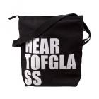 velká černá typo taška hear to glass